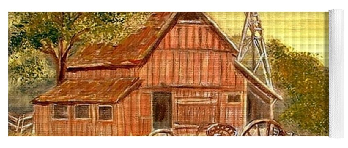 Barn Old Rake Windmill Yoga Mat featuring the painting Barn - Windmill - Old Rake by Kenneth LePoidevin