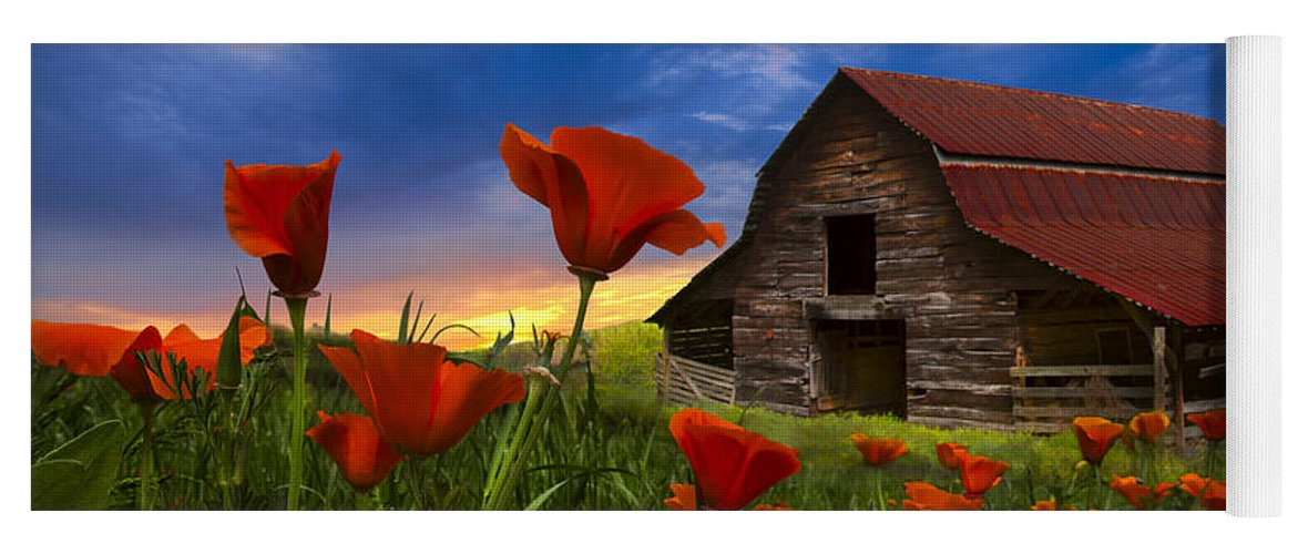 American Yoga Mat featuring the photograph Barn In Poppies by Debra and Dave Vanderlaan