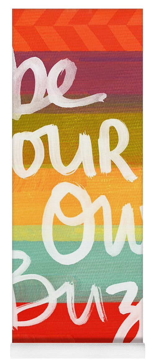 Stripes Yoga Mat featuring the painting Be Your Own Buzz by Linda Woods