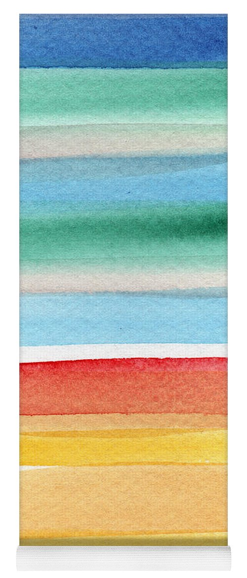 Beach Landscape Painting Yoga Mat featuring the painting Beach Blanket- colorful abstract painting by Linda Woods