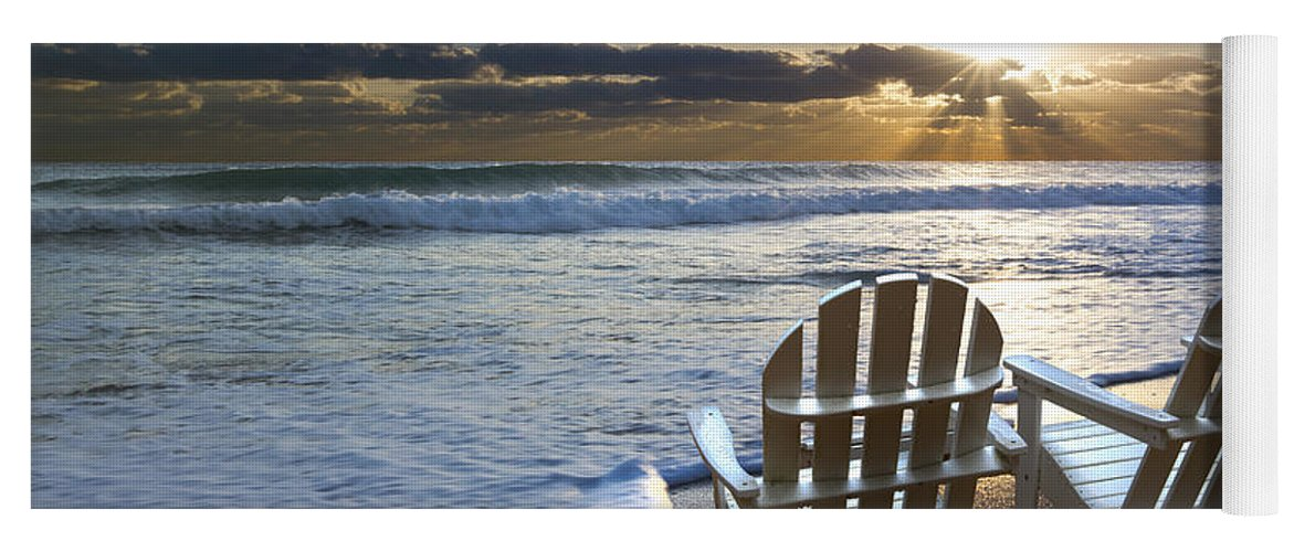 Clouds Yoga Mat featuring the photograph Beach Chairs by Debra and Dave Vanderlaan