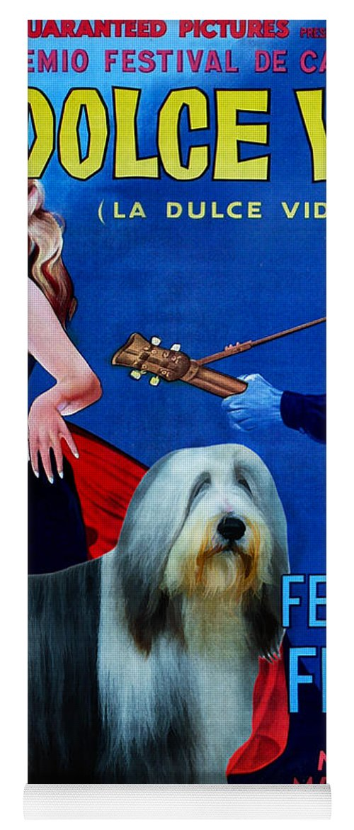 Bearded Collie Yoga Mat featuring the painting Bearded Collie Art Canvas Print - La Dolce Vita Movie Poster by Sandra Sij