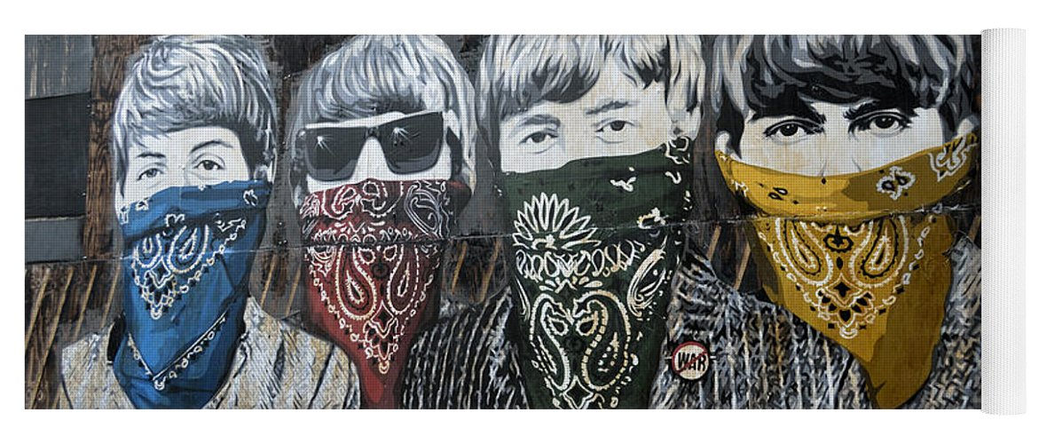 Banksy Yoga Mat featuring the photograph The Beatles wearing face masks street mural by RicardMN Photography