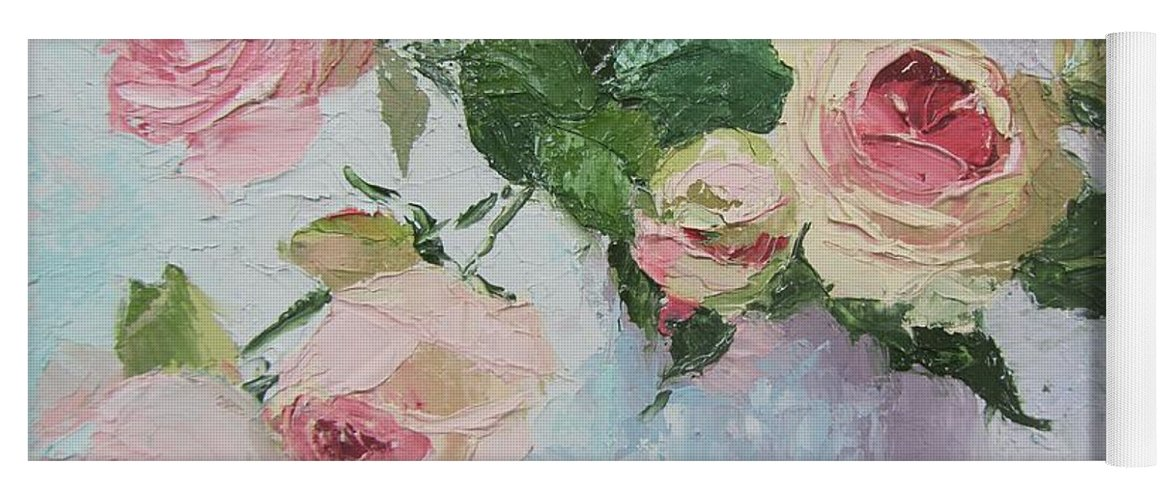 Beautiful Roses Oil Palette Knife Painting Yoga Mat for ...
