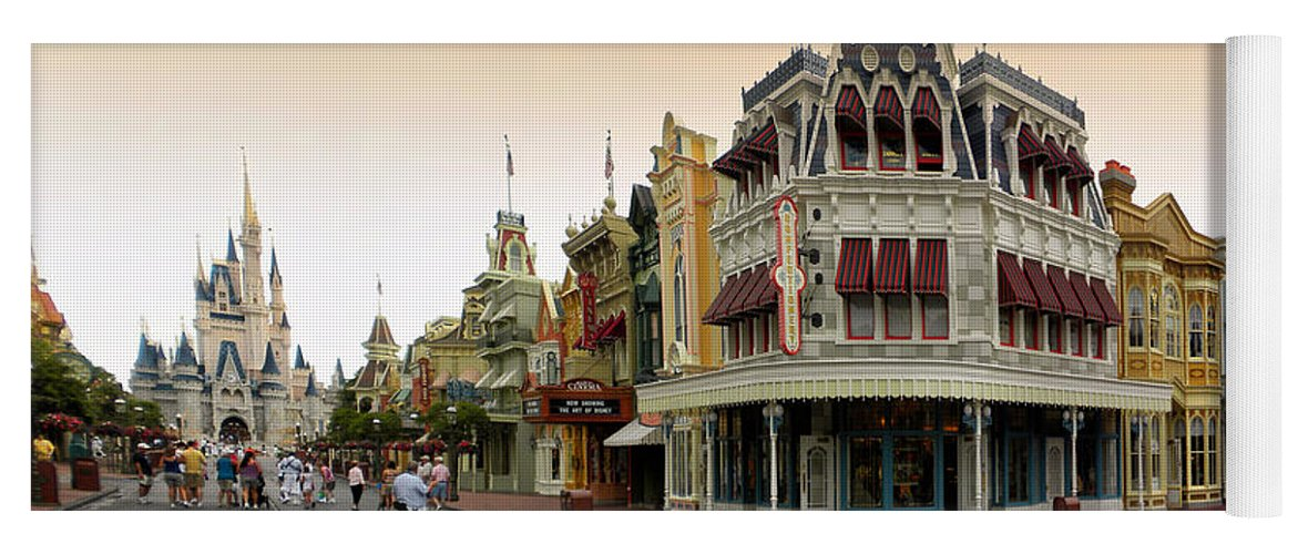 Magic Kingdom Yoga Mat featuring the photograph Before The Gates Open Early Morning Magic Kingdom With Castle. by Thomas Woolworth