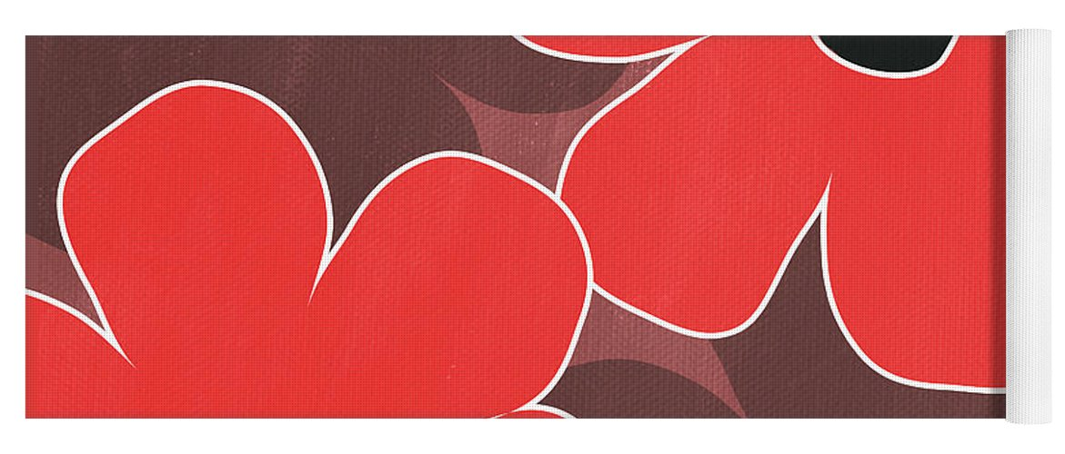 Flowers Yoga Mat featuring the mixed media Big Red and Marsala Flowers by Linda Woods