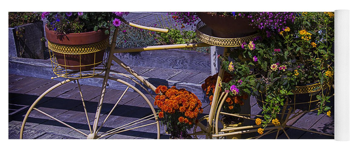 Bike Yoga Mat featuring the photograph Bike Planter by Garry Gay