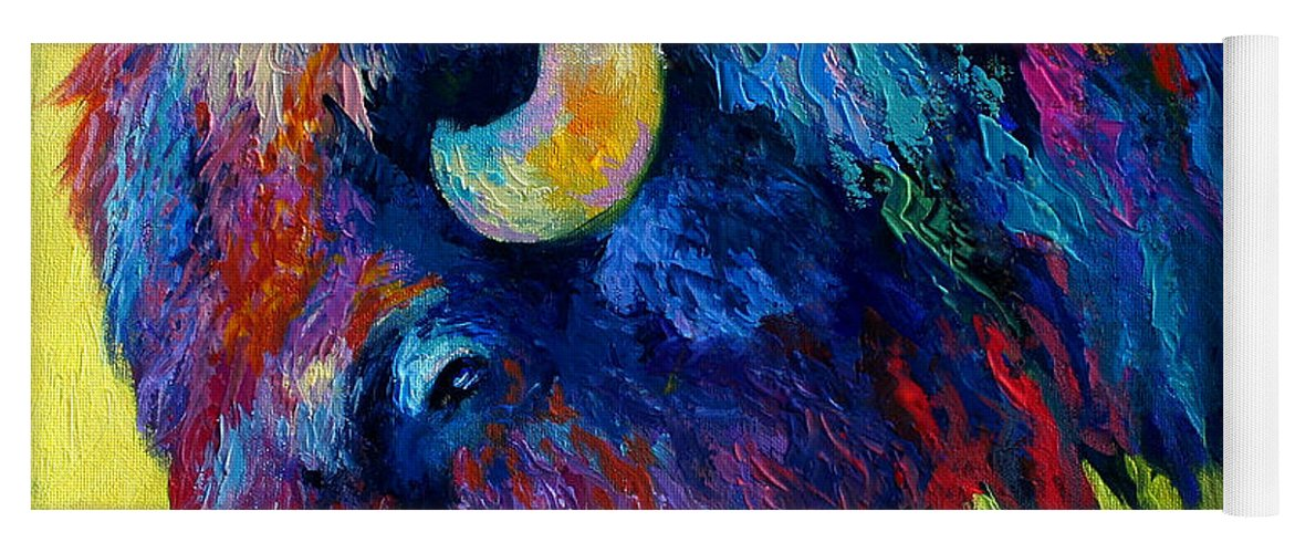 Wildlife Yoga Mat featuring the painting Bison Portrait II by Marion Rose