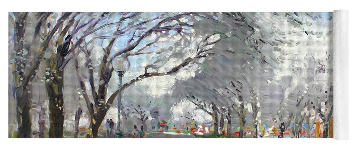 Blooming Trees Yoga Mat featuring the painting Blooming In Niagara Park by Ylli Haruni