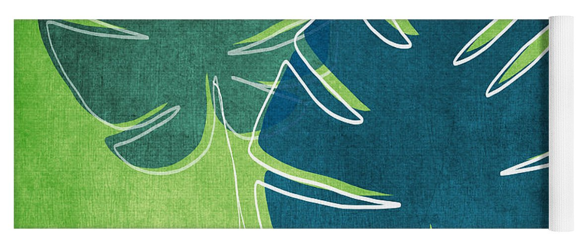Palm Tree Yoga Mat featuring the painting Blue and Green Palm Leaves by Linda Woods