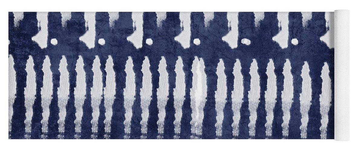 Blue Yoga Mat featuring the painting Blue and White Shibori Design by Linda Woods