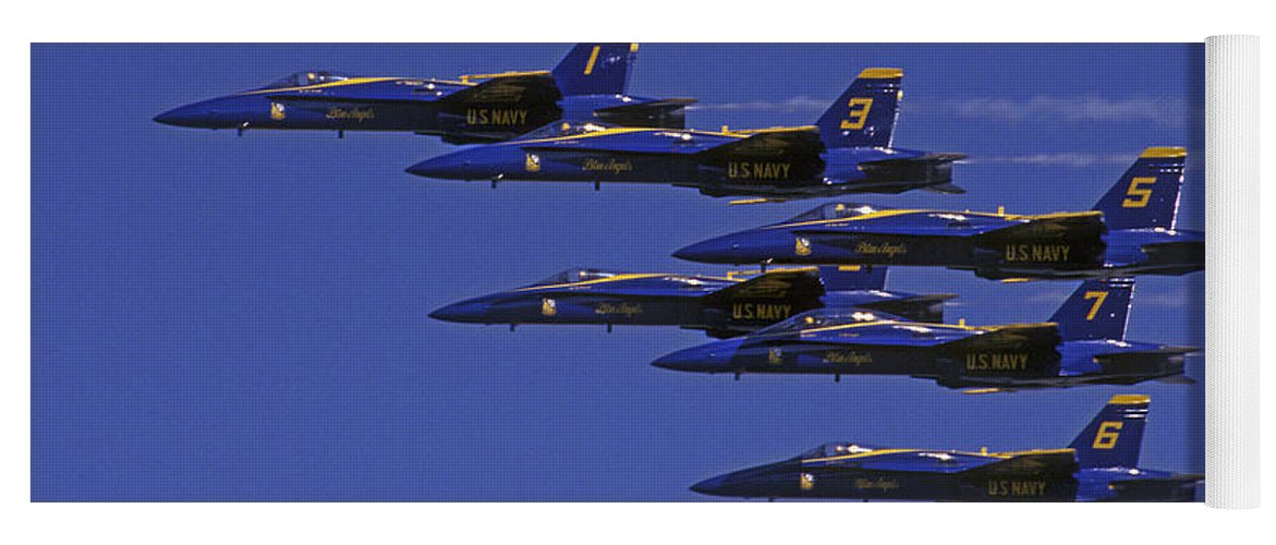 Blue Angles Yoga Mat featuring the photograph Blue Angles Thunder By by Paul W Faust - Impressions of Light