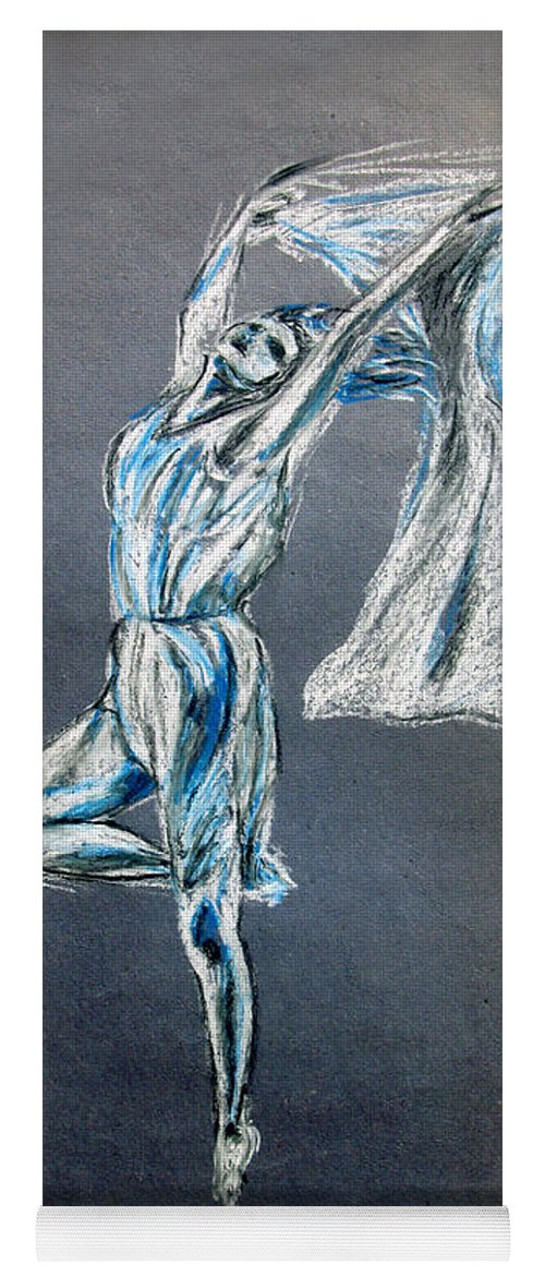 Ballet Yoga Mat featuring the drawing Blue Ballerina dance art by Tom Conway