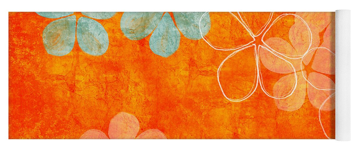 Abstract Yoga Mat featuring the painting Blue Blossom on Orange by Linda Woods