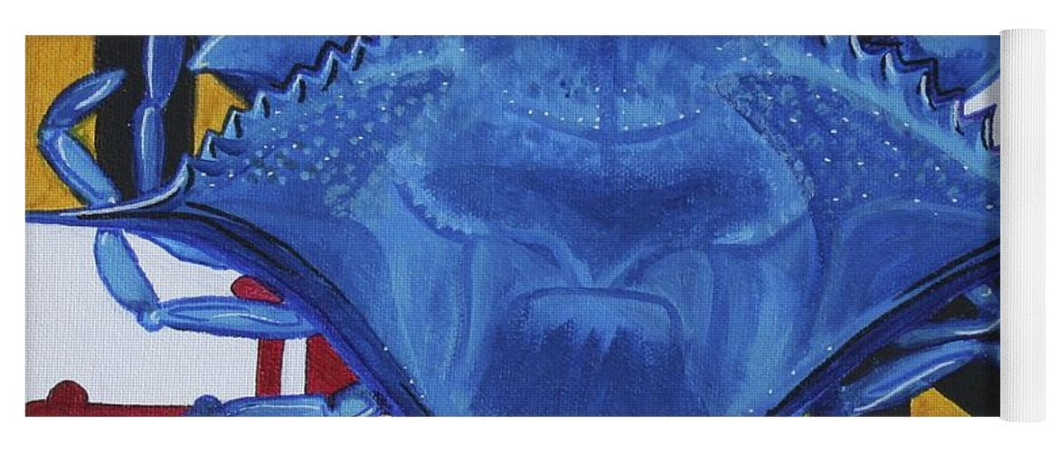 Maryland Yoga Mat featuring the painting Blue Crab by Kate Fortin