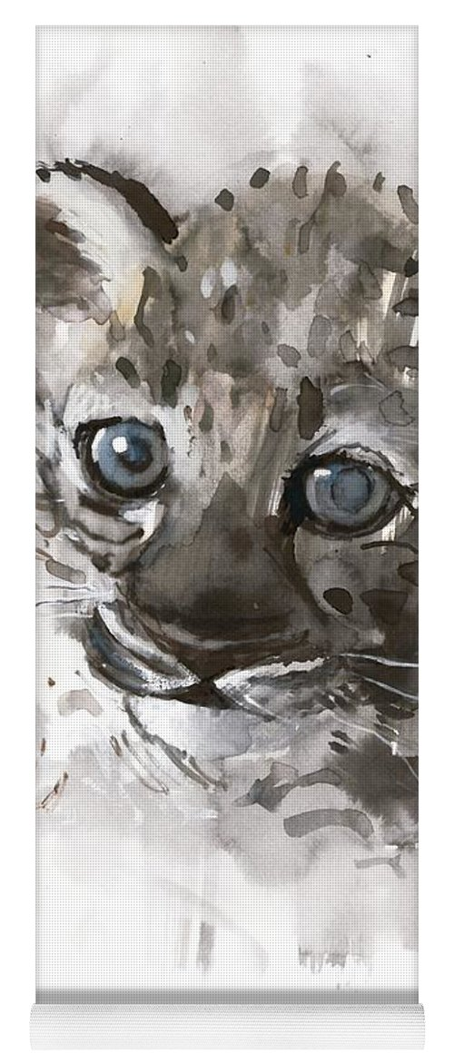 Arabian Leopard; Arabian Leopard Cub; Cub; Cubs; Sweet; Young; Wild Animal;big Cat;cub;young;blue Eyes;head;face;cute;arabian Leopard;wild Animal;big Cat;spotted;spots;panthera Pardus Nimr; Reclining; Head; Paws; Face; Cat; Watercolor; Watercolor On Paper; Work On Paper; Mark Adlington; Adlington; Mark Adlington; Big Eyes; Eyes; Ears; Yoga Mat featuring the painting Blue Eyes by Mark Adlington