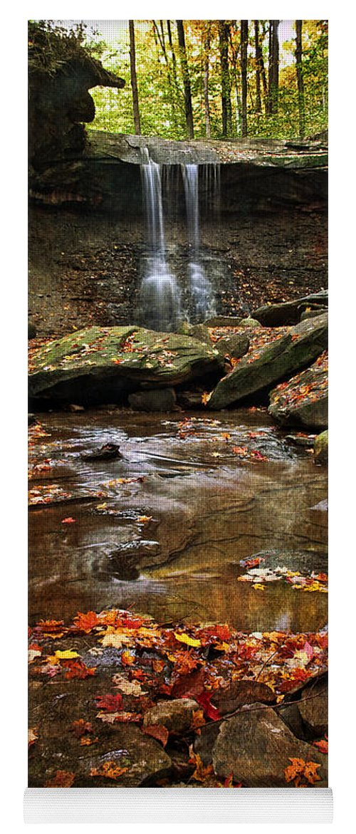 Water Yoga Mat featuring the photograph Blue Hen Falls In Autumn by Dale Kincaid
