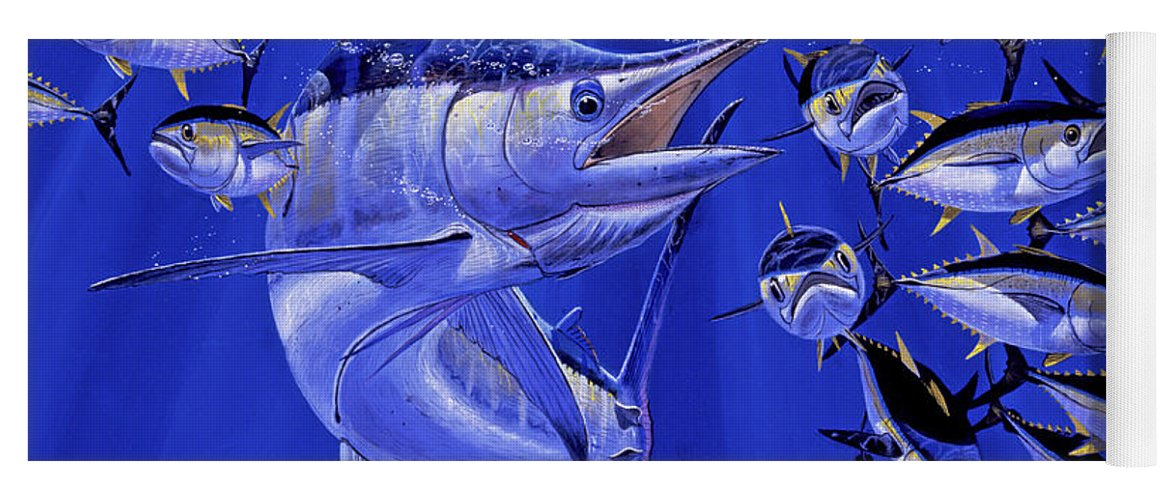 Blue Marlin Yoga Mat featuring the painting Blue marlin round up Off0031 by Carey Chen