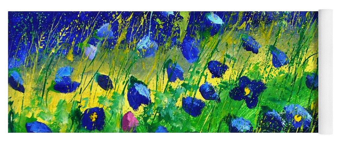 Landscape Yoga Mat featuring the painting Blue poppies 674190 by Pol Ledent
