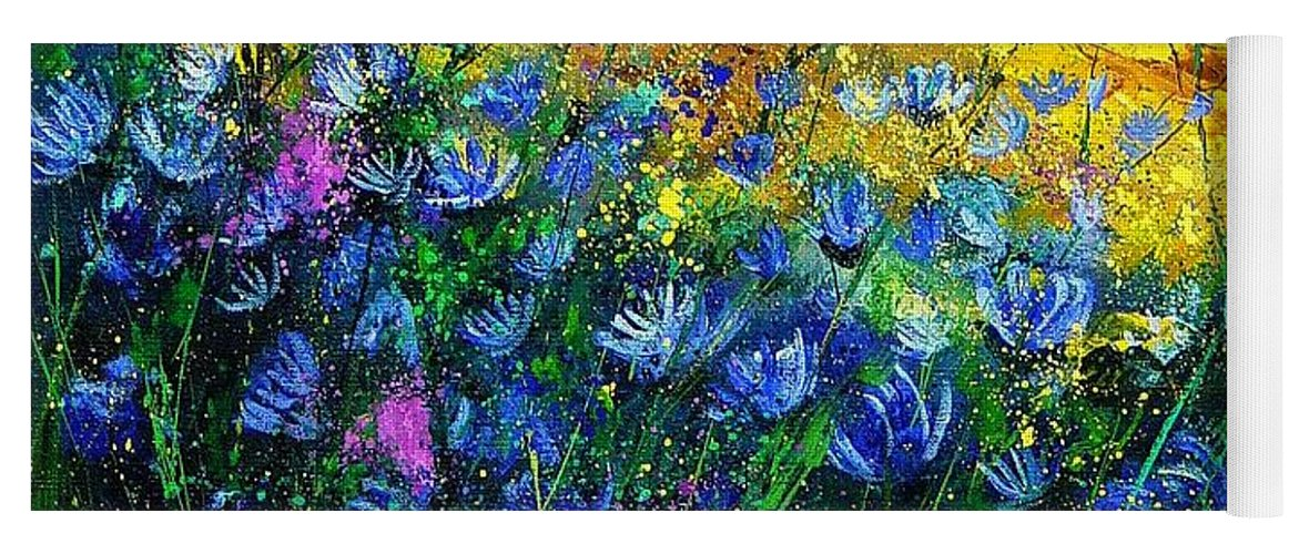 Flowers Yoga Mat featuring the painting Blue wild chicorees by Pol Ledent