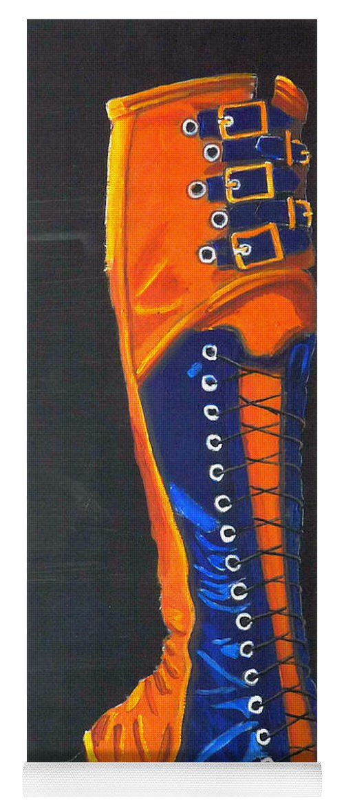 Blue Yoga Mat featuring the painting Blus And Gold Boot by Richard Le Page