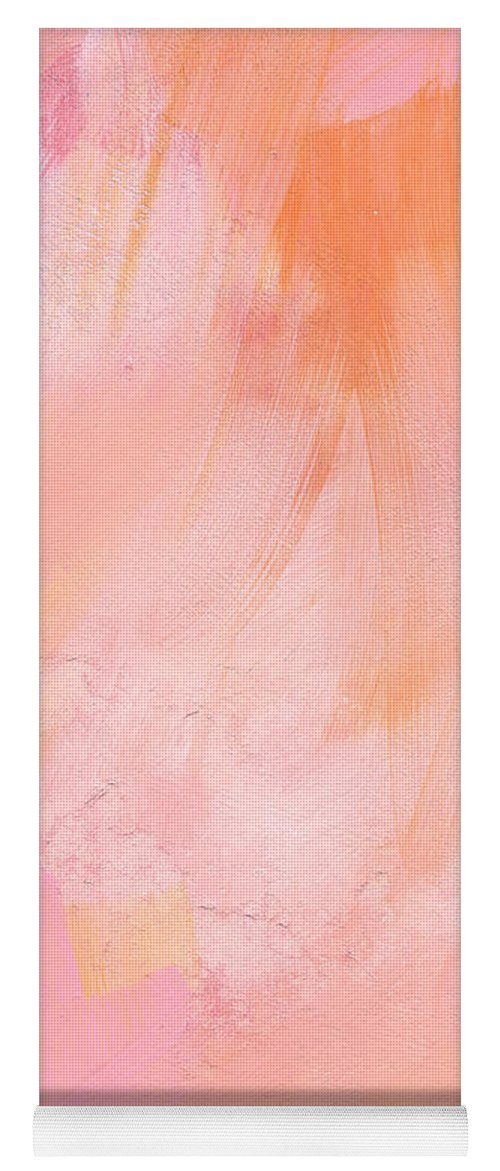Pink Abstract Yoga Mat featuring the painting Blush- Abstract Painting In Pinks by Linda Woods