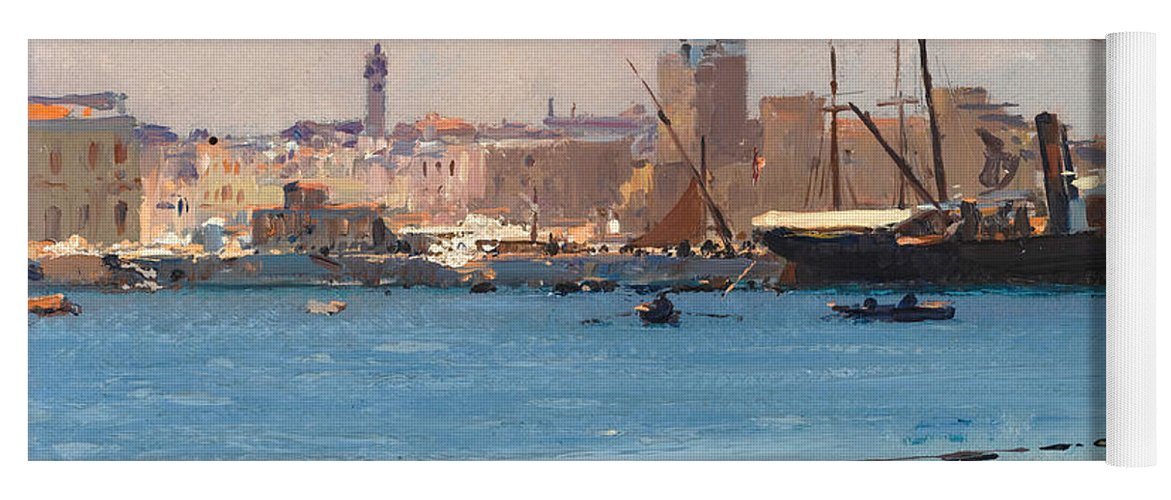 Fausto Zonaro Yoga Mat featuring the painting Boats In A Port by Fausto Zonaro