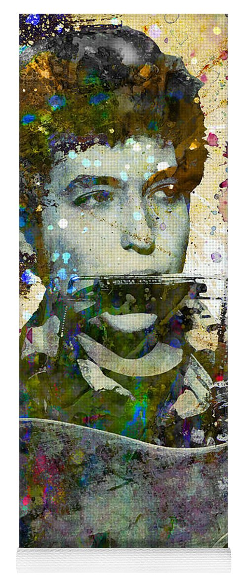 60s Yoga Mat featuring the painting Bob Dylan Original Painting Print by Ryan Rock Artist