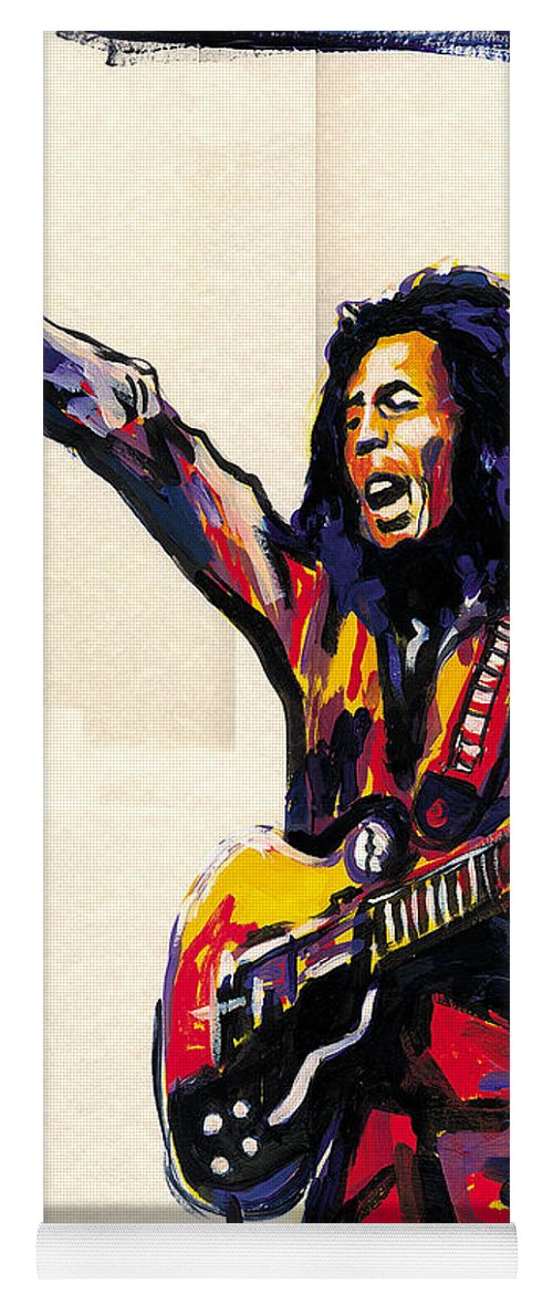 Everett Spruill Yoga Mat featuring the painting Bob Marley - One Love by Everett Spruill