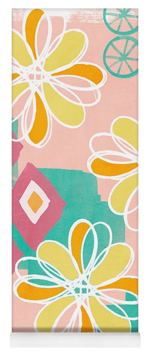 Pink Yoga Mat featuring the painting Boho Floral Garden by Linda Woods