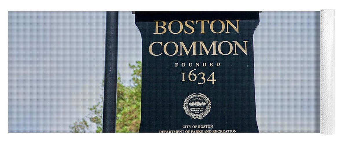 Photography Yoga Mat featuring the photograph Boston Common Park Sign, Boston, Ma by Panoramic Images
