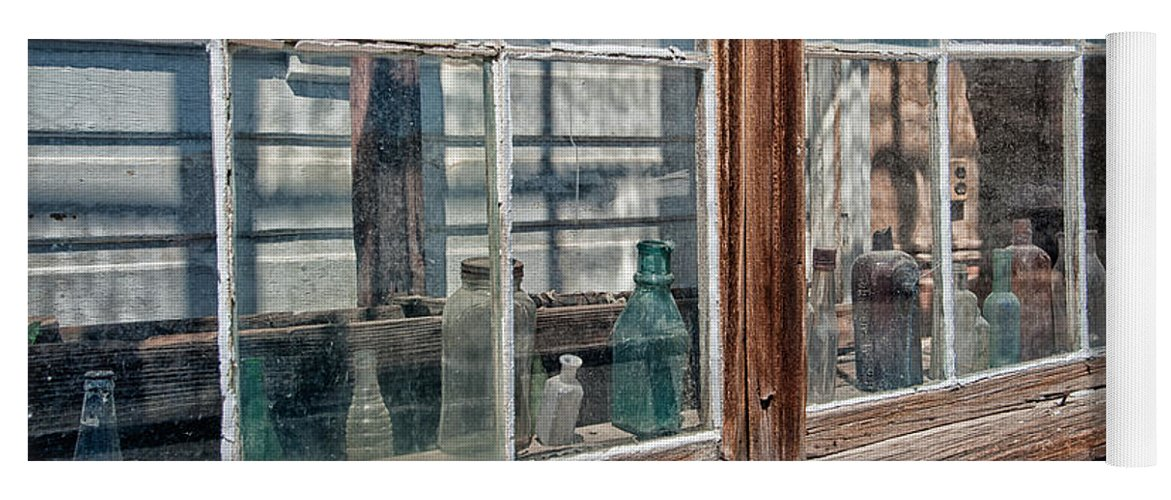Glass Yoga Mat featuring the photograph Bottles In The Window by Cat Connor