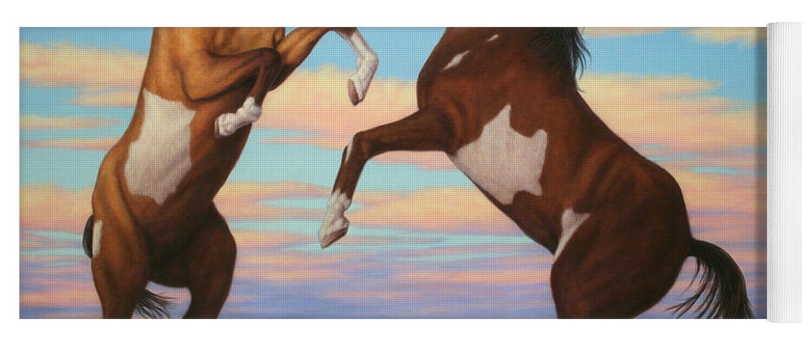 Boxing Horses Yoga Mat featuring the painting Boxing Horses by James W Johnson