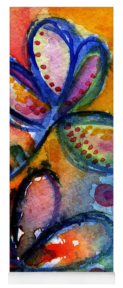 Abstract Yoga Mat featuring the painting Bright Abstract Flowers by Linda Woods