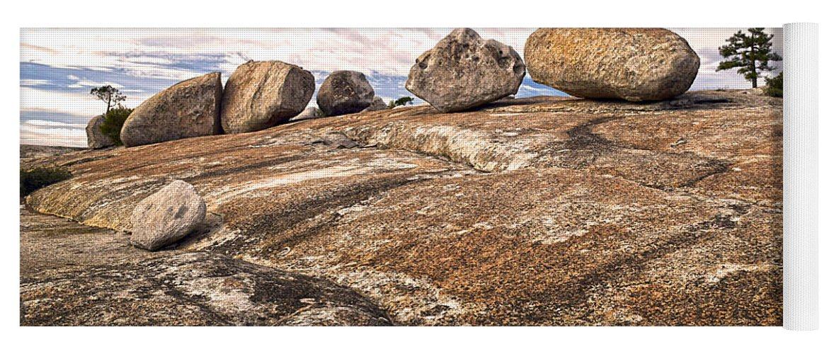 Bald Rock Dome Yoga Mat featuring the photograph Broken Glacial Erratics by Frank Wilson