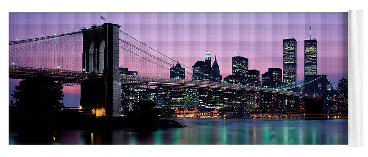 Photography Yoga Mat featuring the photograph Brooklyn Bridge New York Ny Usa by Panoramic Images