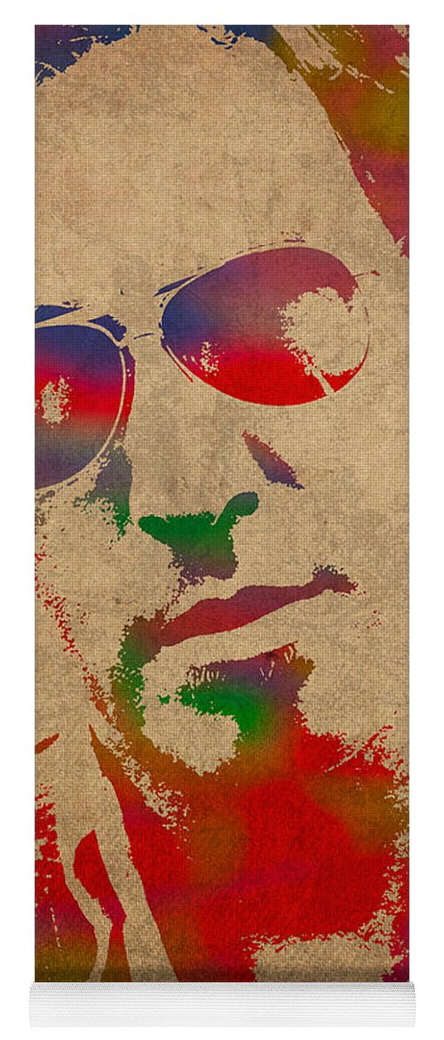 Bruce Springsteen Watercolor Portrait On Worn Distressed Canvas Yoga Mat featuring the mixed media Bruce Springsteen Watercolor Portrait On Worn Distressed Canvas by Design Turnpike