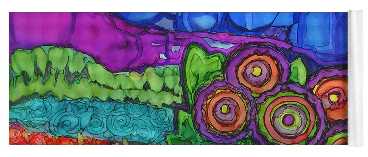 Alcohol Ink Yoga Mat featuring the painting Bubble Sky by Vicki Baun Barry