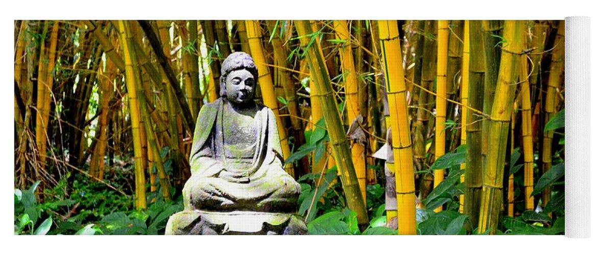 Buddha Yoga Mat featuring the photograph Buddha In The Bamboo Forest by Mary Deal