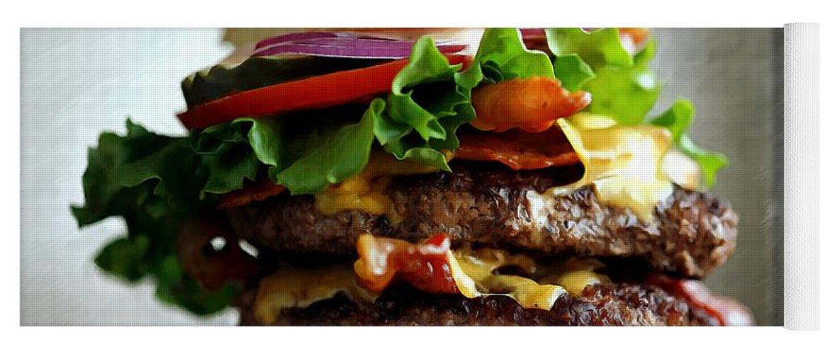 Bacon Yoga Mat featuring the digital art Burger - Fast food Serie by Gabriel T Toro