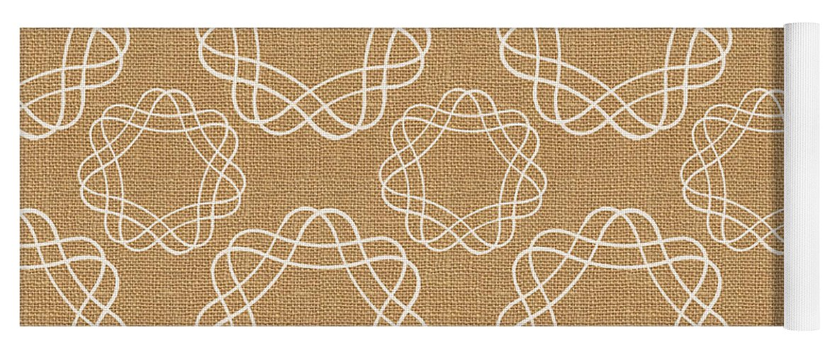 Burlap Yoga Mat featuring the mixed media Burlap and White Geometric Flowers by Linda Woods