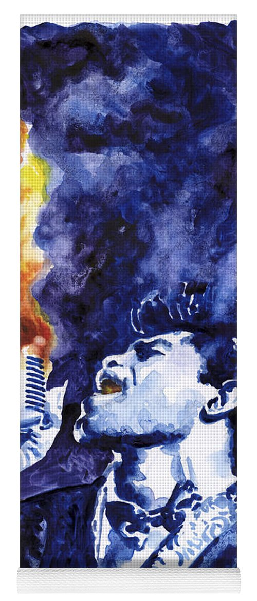 James Brown Yoga Mat featuring the painting Burning Soul Brown by Ken Meyer jr