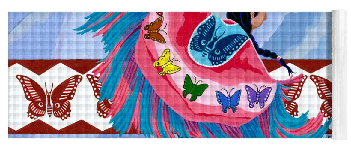 America Yoga Mat featuring the painting Butteryfly Fancy Dancer by Chholing Taha