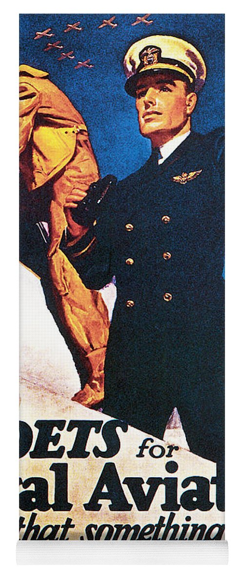 Poster Yoga Mat featuring the drawing Cadets For Naval Aviation Take That by McClelland Barclay
