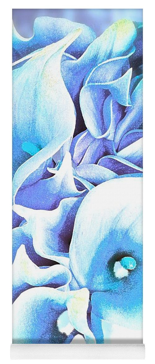 Calla Lilly So Soft Lilac And Blue Yoga Mat featuring the painting Calla Lilly So Soft Lilac And Blue by Saundra Myles