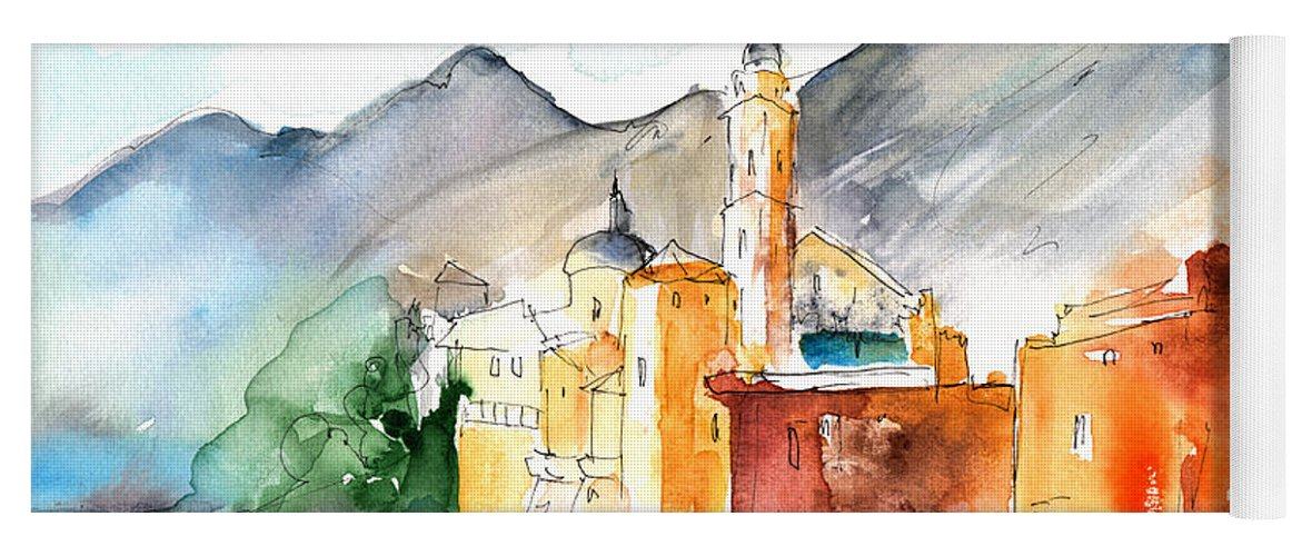 Italy Yoga Mat featuring the painting Camogli In Italy 11 by Miki De Goodaboom