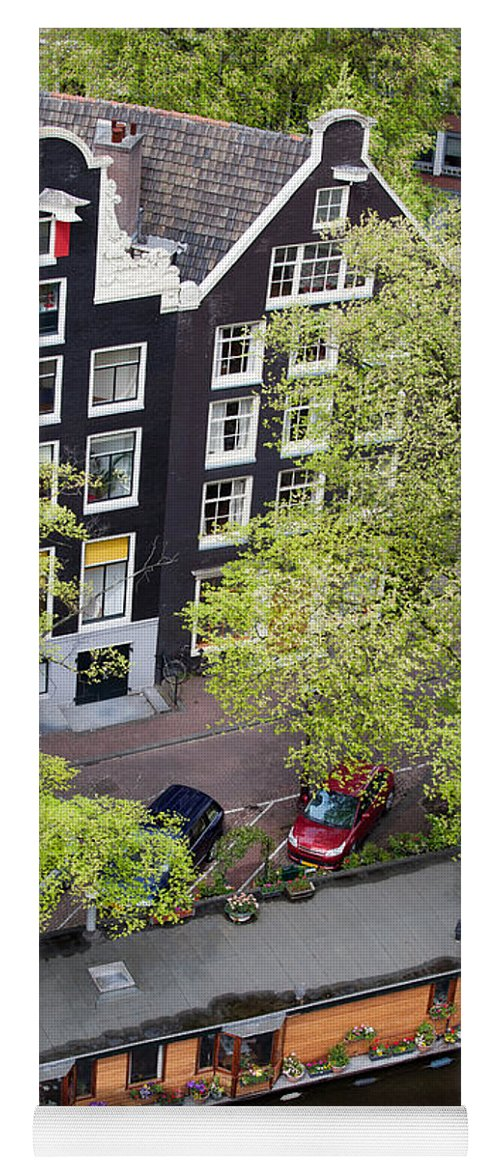 Amsterdam Yoga Mat featuring the photograph Canal Houses And Houseboat In Amsterdam by Artur Bogacki
