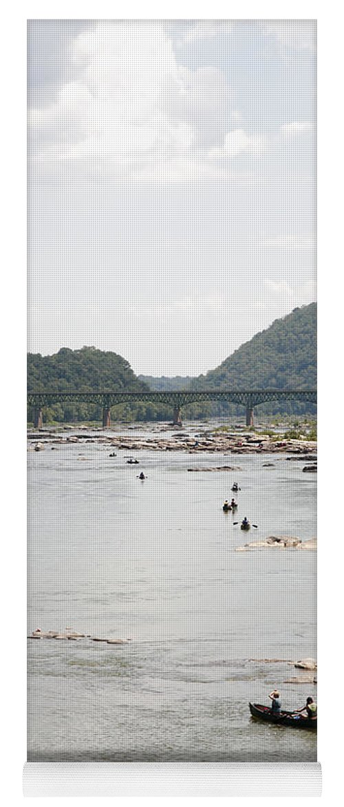 Canoe Yoga Mat featuring the photograph Canoeing On The Potomac River At Harpers Ferry by William Kuta