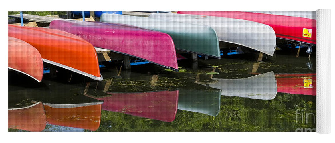 Canoes Yoga Mat featuring the photograph canoes - Lake Wingra - Madison by Steven Ralser