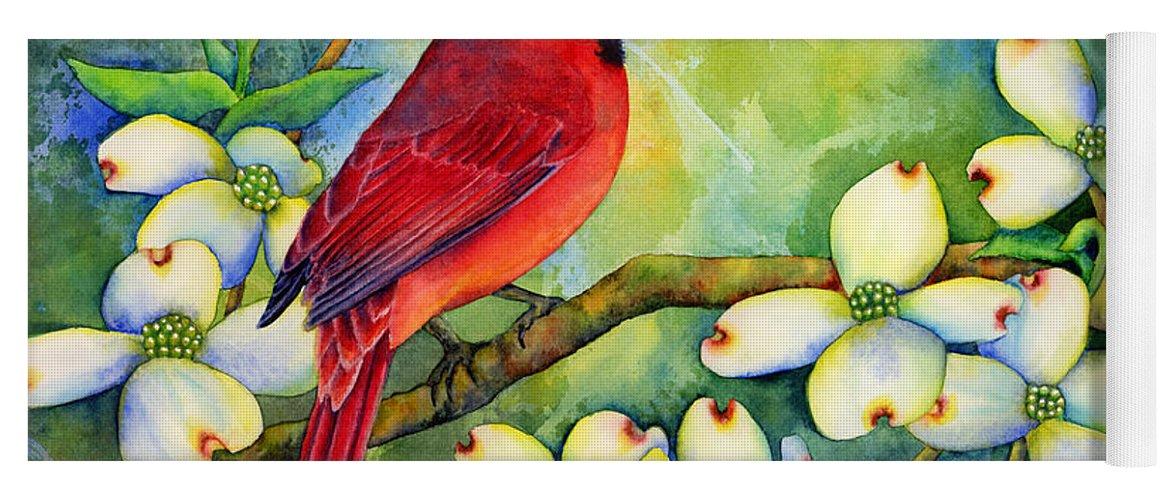 Cardinal Yoga Mat featuring the painting Cardinal On Dogwood by Hailey E Herrera